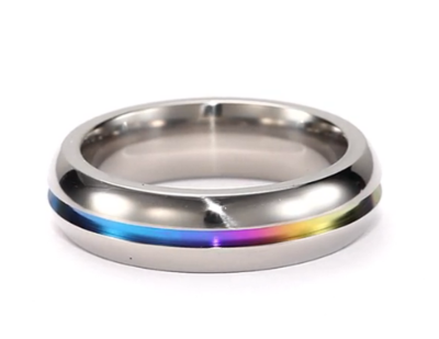 8cccb4b6d6c57 Rainbow Anodized Plain Ring - Gay & Lesbian Pride Stainless Steel ...