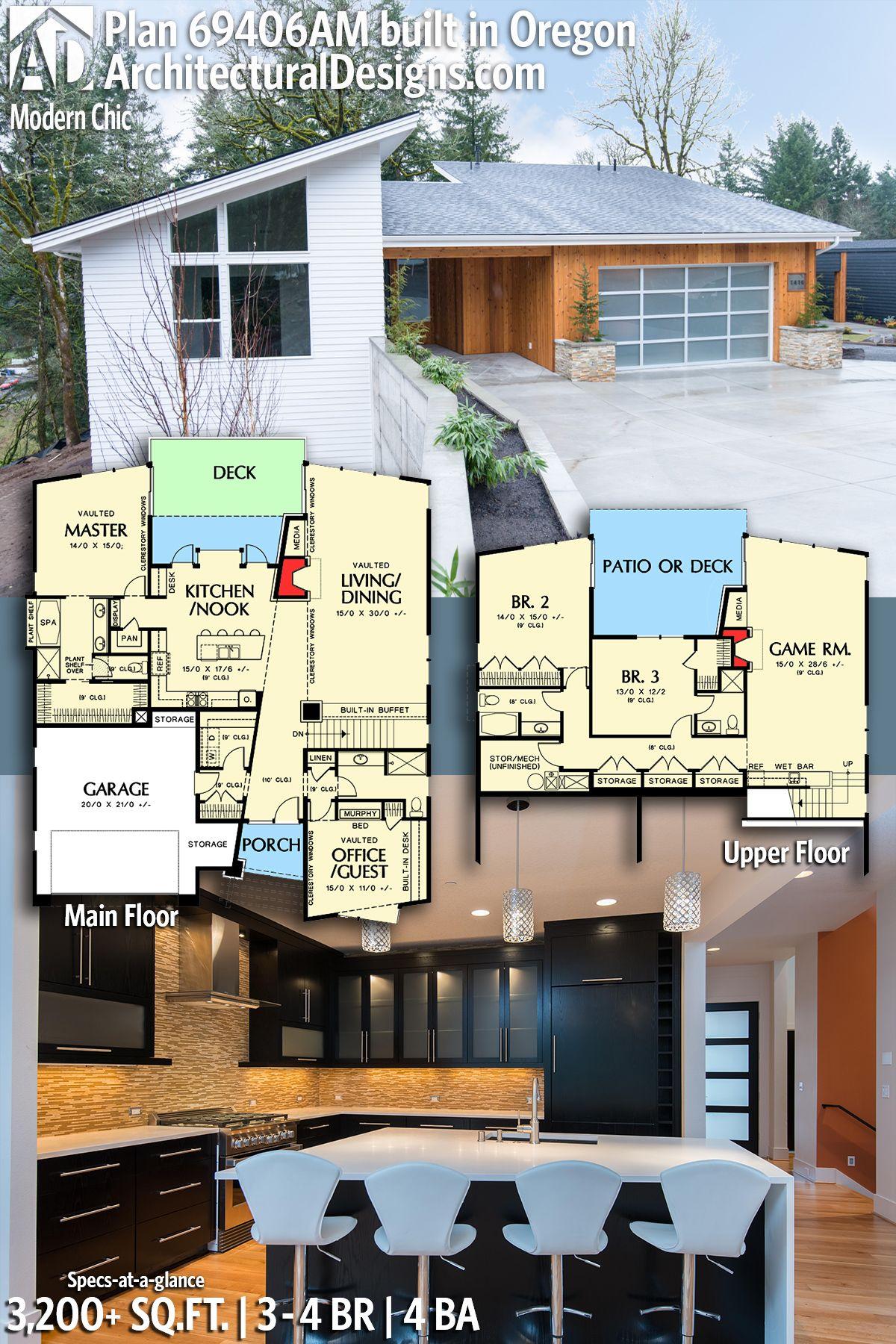Plan 69406am Modern Chic Modern House Plans Bungalow House Plans House Plans