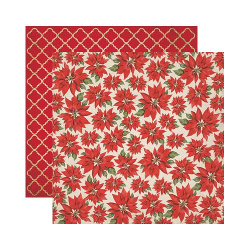 Reminisce - A Christmas Story Collection - 12 x 12 Double Sided Paper - Christmas Poinsettias at Scrapbook.com