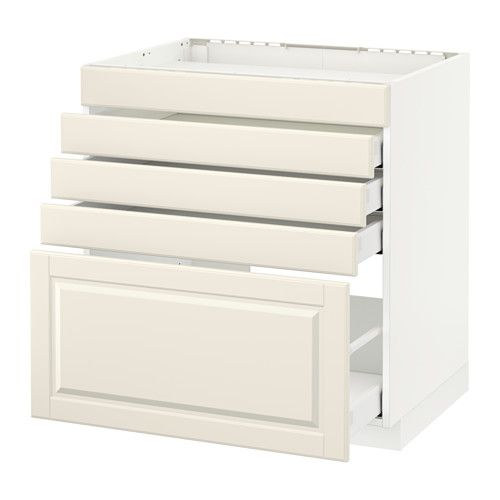METOD Base cab f hob/5 fronts/4 drawers White/bodbyn off-white IKEA