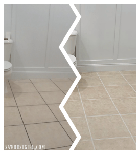 before and after using grout paint (Polyblend Grout Renew