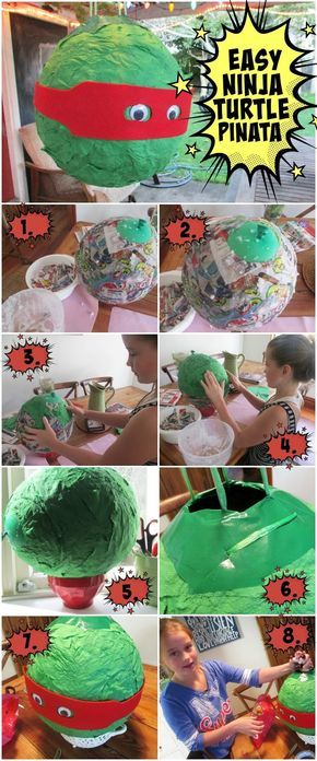 How to make an EASY Ninja Turtle Pinata xavier bday Pinterest