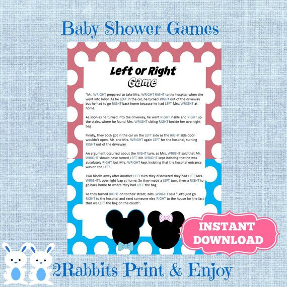 Gender Reveal Left Or Right Baby Shower Game   Instant Download   Disney  Left Right Baby Shower Game   Instant Download   Mickey And Minnie