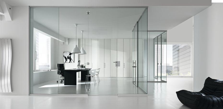 parete divisoria monolitica in vetro time | pareti divisorie per ... - Pareti Vetrate Uffici