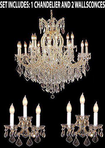 Swarovski 3pc Lighting Set Maria Theresa Crystal Chandelier And
