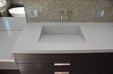 Quartz Integrated Sinks Modern Vanity Tops And Side Splashes