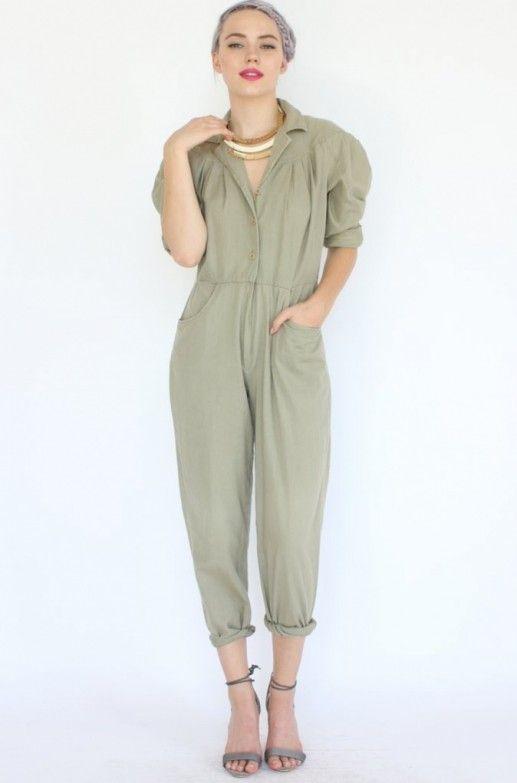 172c0cc223 Khaki Safari Jumpsuit - Soft shoulder