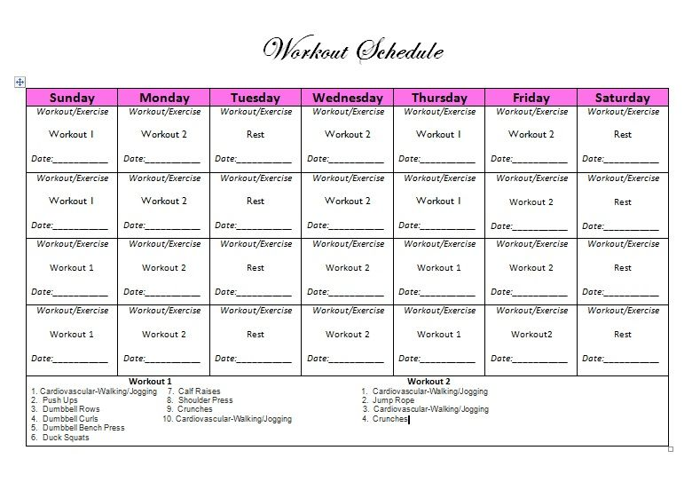 Day Workout Calendar For Women To Do At The Gym  Workout