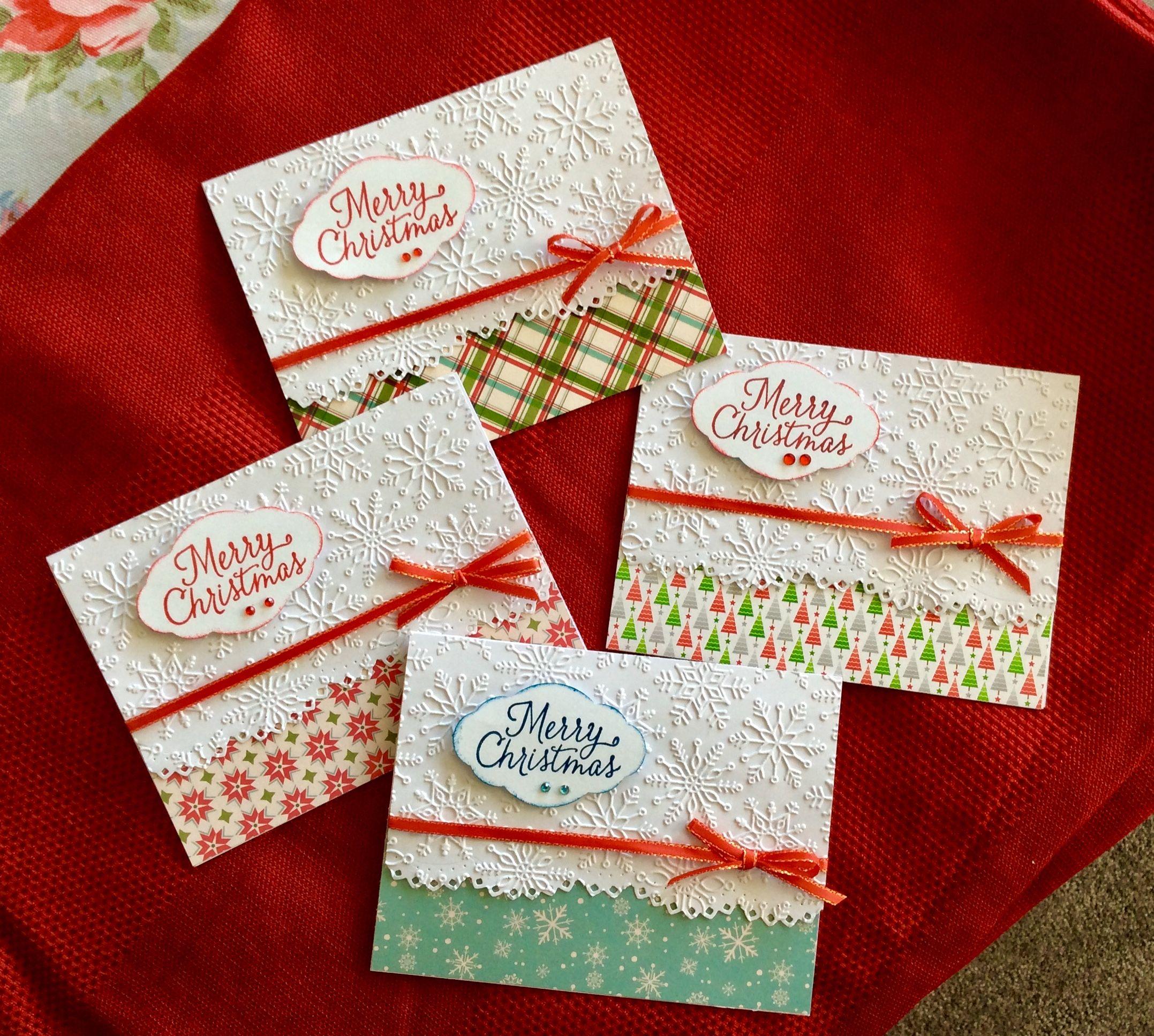 carte de noel en relief Christmas cards Martha Stewart embossing folder, Spellbinders die