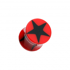Red Star Acrylic Double Flared Plugs 8G - 00G - Pair