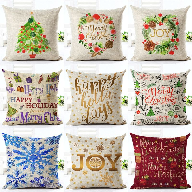 Cushion Cover Merry Christmas Letter Printing Style Christmas Gifts Christmas Tree Throw Pillow Pillowcase Christmas Cushions Christmas Cushion Covers Pillows