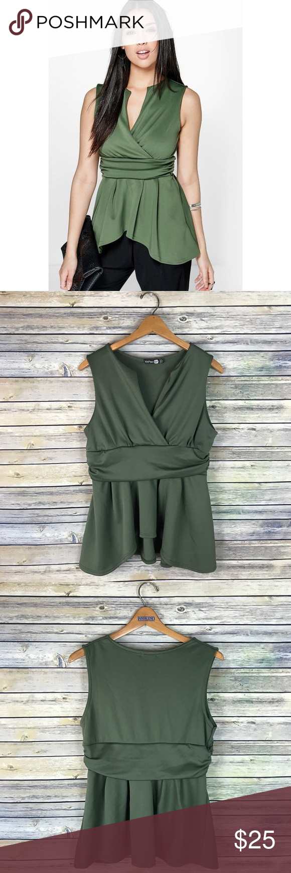 """Boohoo Night Tina Dip Back Wrap Front Peplum Top Super cute sleeveless peplum tank with wrap detailing. Slightly longer in the back. Very pretty olive green color. Stretchy. Gently used condition.  Measurements laying flat (without stretching)- Armpit to armpit: 18.5"""" Length, shoulder to hem: 27"""" Boohoo Tops"""