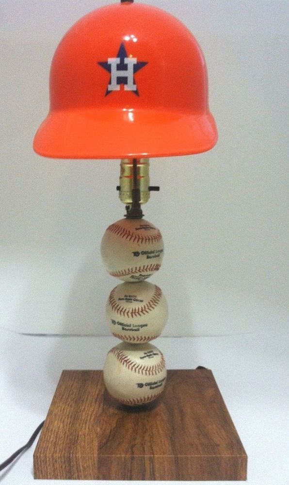 Vintage 70s Houston Astros Baseball Light Lamp Orange Helmet Shade From 1250