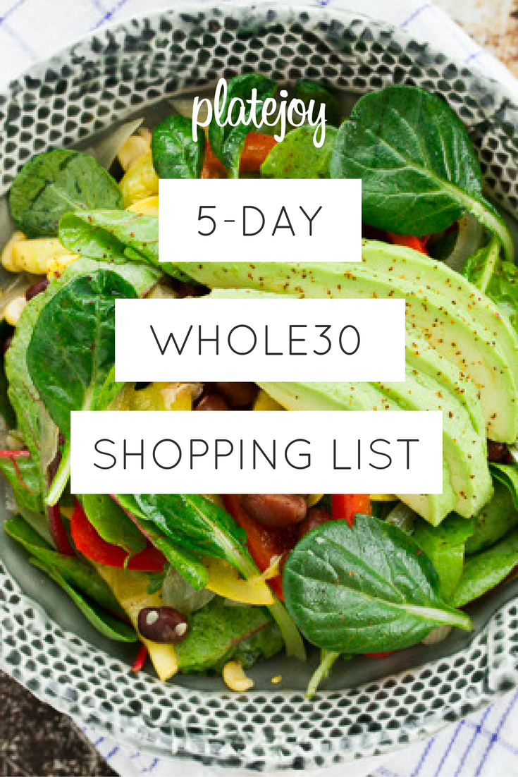 Whole30 Shopping List Breakfast, Lunch, Dinner and Snack