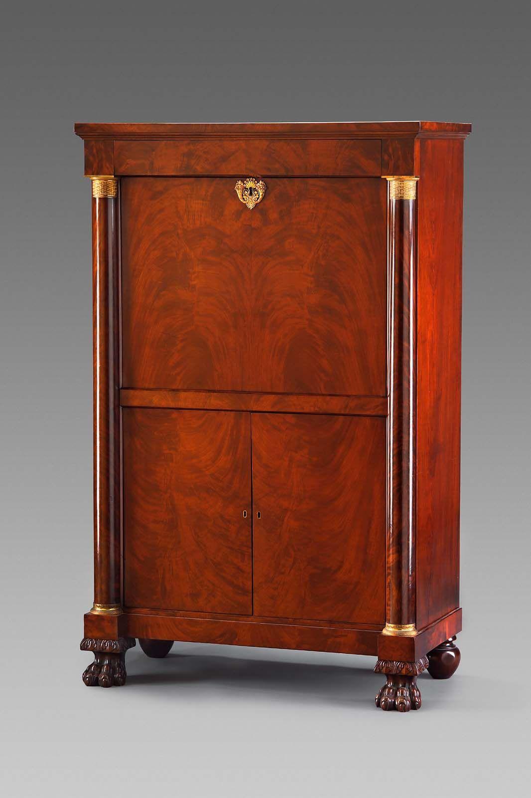 c1820 Classical secrétaire à abbattant, Emmons & Archibald, Boston (active1813-25), mah, 61t, mfa, Boston.