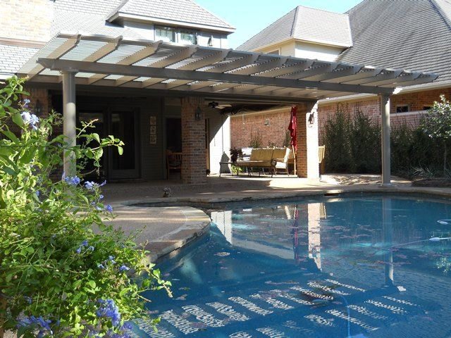 Round Columns, Vinyl Shade Structure.... beautiful!  Call Future Outdoors for a free estimate if you live in the North Texas area.  972-576-1600  Dallas, Midlothian, Carrollton, The Colony, McKinney, Allen, Rockwall, Rowlett, Mansfield,