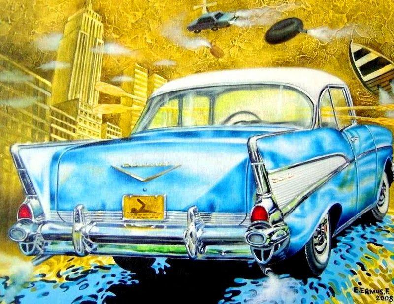 Carro Antiguo, oleo Sobre Lienzo, Enrique R. Ermus Forgas Pintor Cubano[1]
