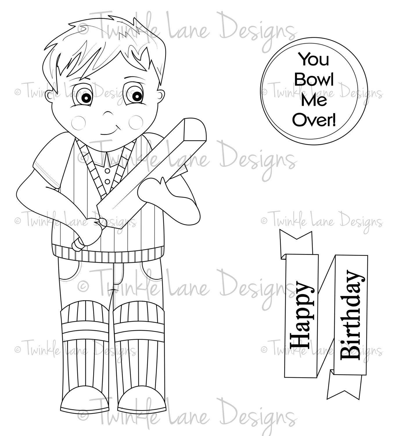 Cricket Boy Digi Stamps, Two Sentiments, Colouring Page