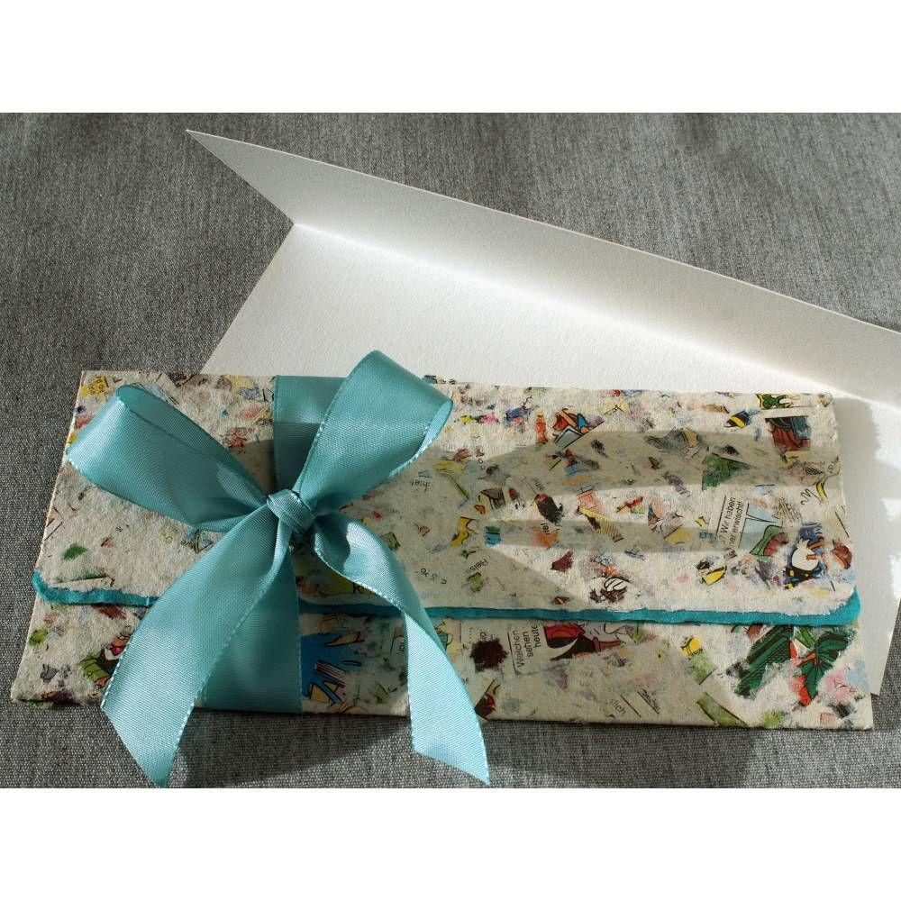 Briefumschlag handgeschöpft, bunt, ca. 10 cm x 22 cm, türkis gefüttert, Faltkarte und Bändchen, Verpackung für Geldgeschenk, Tickets, Gutschein #konzertkartenverpacken