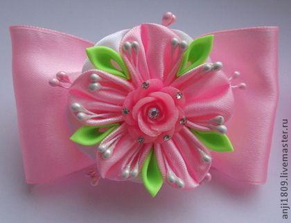 Резиночки для волос - розовый,однотонный,белый цвет,украшение для волос. Kanzashi