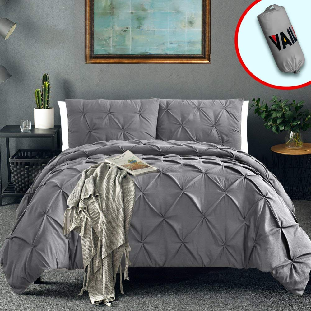 Vailge 3 Piece Pinch Pleated Duvet Cover with