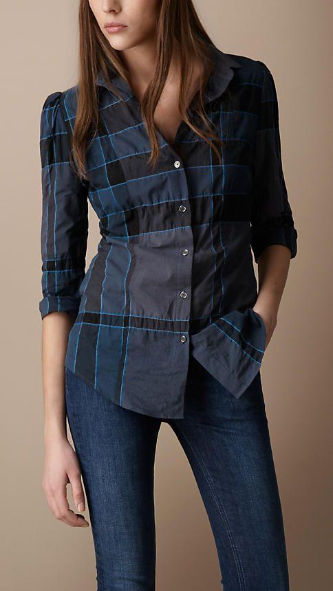 Check Cotton Blend Shirt  072d579f4d431