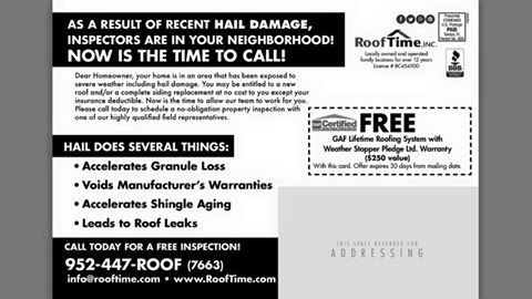 July 2015 Flyer Back Hail Damage Alert From Roof Time Inc
