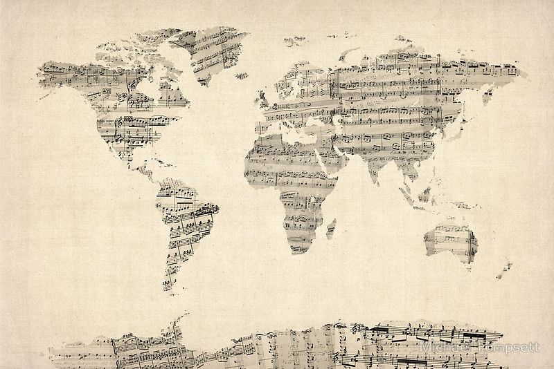 Map of the world map from old sheet music by michael tompsett wall map of the world map from old sheet music by michael tompsett gumiabroncs Images