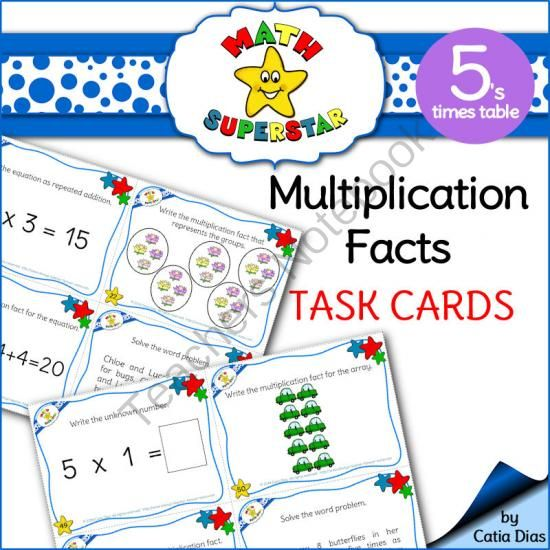 Multiplication Facts Task Cards - 5s times table from Catia Dias on - multiplication table