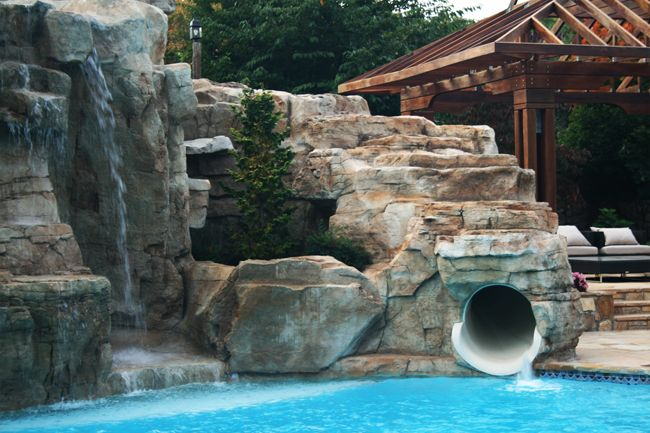 Image Detail For Recent Projects Rock Cave Pool House Slide An Enclosed Tube Slide Outside Pool Pool Houses Pool Water Features