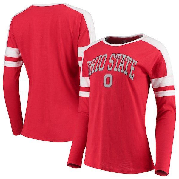 48ab091c6 Ohio State Buckeyes Women s Varsity Colorblocked Long Sleeve T-Shirt -  Scarlet  OhioStateBuckeyes