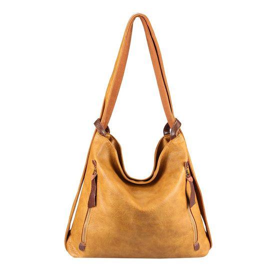 OBC Damen Tasche Rucksack 2 in 1 Umhängetasche Schultertasche Daypack Leder Optik Rucksacktasche Shopper Backpack Freizeitrucksack Gelb