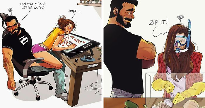 Artist Illustrates Everyday Life With His Wife New Comics - Husband turns everyday moments with his wife into heartwarming illustrations