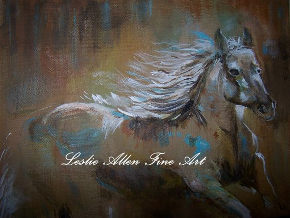 Horse Horses Friesian Stallion Art Print Giclee Mare Mustang Abstract Wall Art Tan Taupe Teal 5x7 Mus Abstract Horse Painting Abstract Horse Art Horse Painting