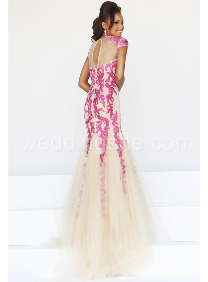 Glamour Mermaid Embroidery Bateau Lace-Back Floor-Length Evening ...