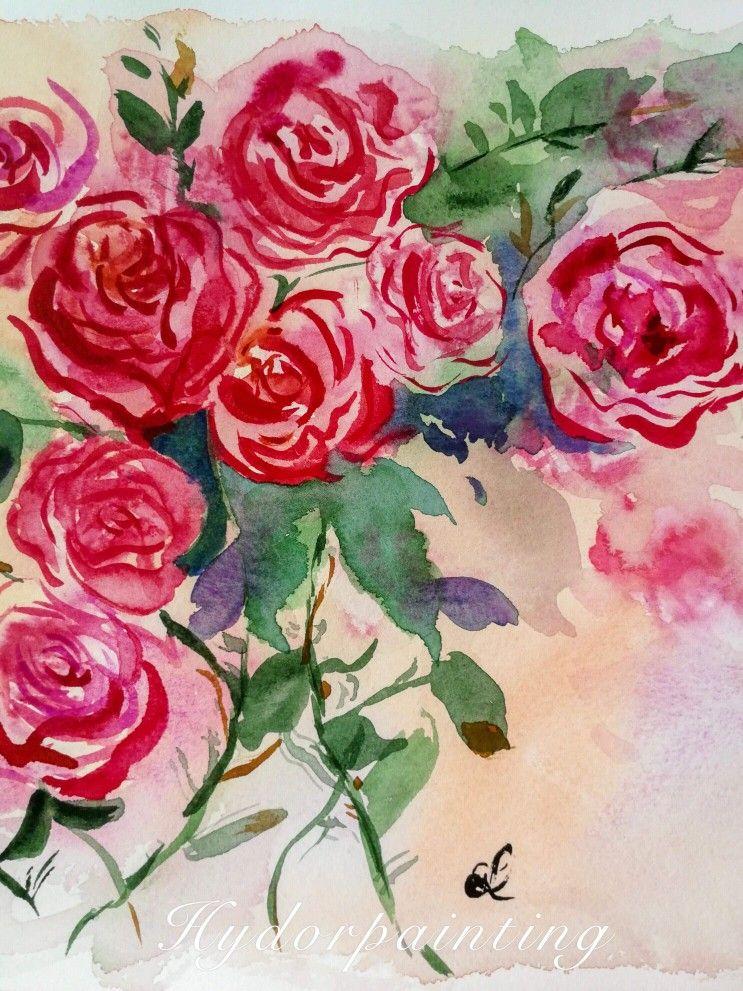 Wunderschoenes Aquarell Rosen Fuer Meine Malerei Benutze Ich Die