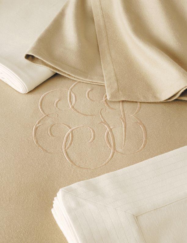 JM Modal blanket with monogram