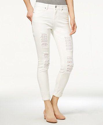 b656d2f7e52d Vanilla Star Juniors' Ripped Crochet-Trim White Cuffed Skinny Jeans | macys .com