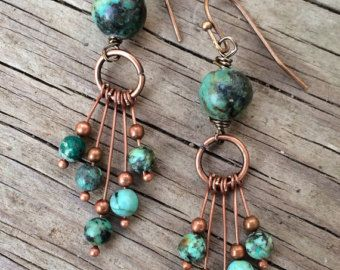 Photo of Bohemian Dangle Earrings, Boho Jewelry Earrings, Copper Dangle Earrings, Copper Stone Jewelry, Colorful Jewelry, Colorful Earrings