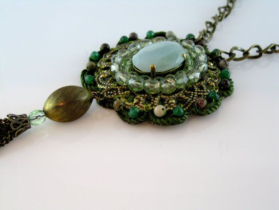 Green Lace Necklace crochet NecklaceFree by TalilaDesign on Etsy, $50.00