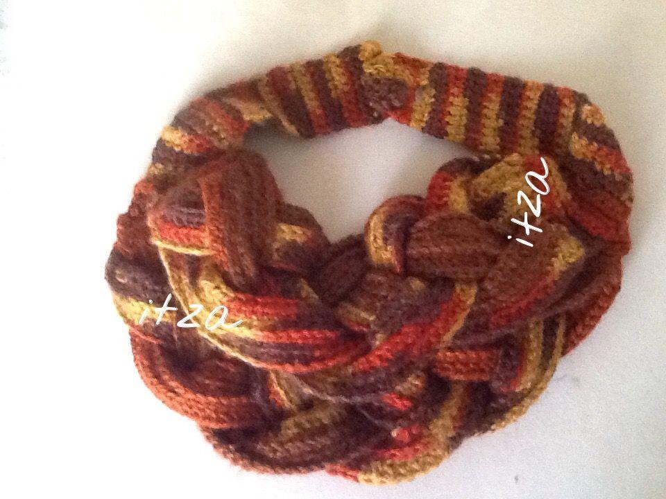 Cuello de cuatro trenzas crochet   mis trabajos   Pinterest   Trenza