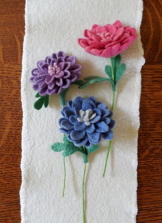 Dahlia Felted Flower create your own by SPRIGSfeltedflowers, $18.00