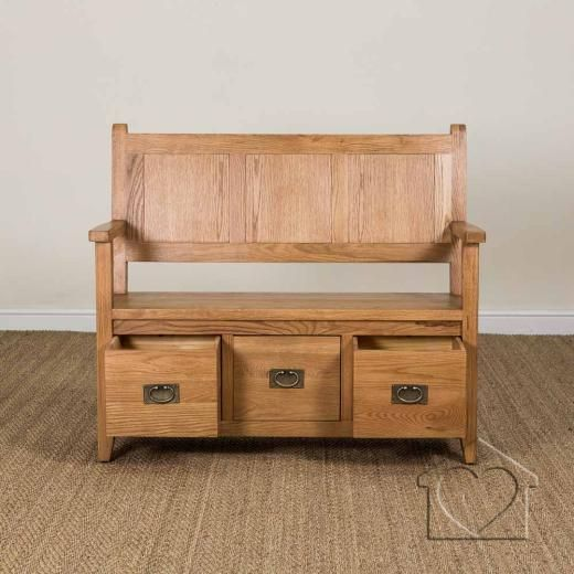 Heritage Rustic Oak Monk Bench 259 00 From Listers Interiors