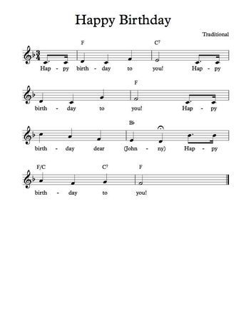 Free Sheet Music Free Lead Sheet Happy Birthday To You Key