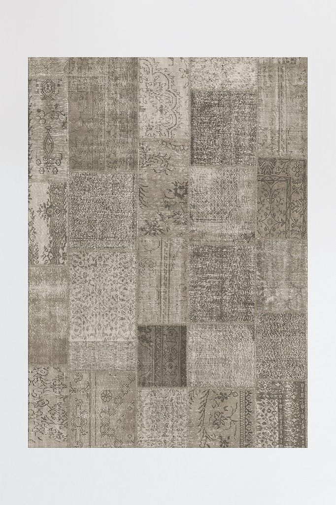 Patchwork Taupe Rug Shabby Chic Decor Shabby Chic