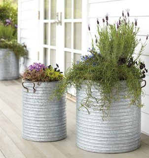 Galvanized Steel Planter With Handles Traditional Outdoor Planters By Rejuvenation Outdoor Planters Galvanized Planters Outdoor Pots