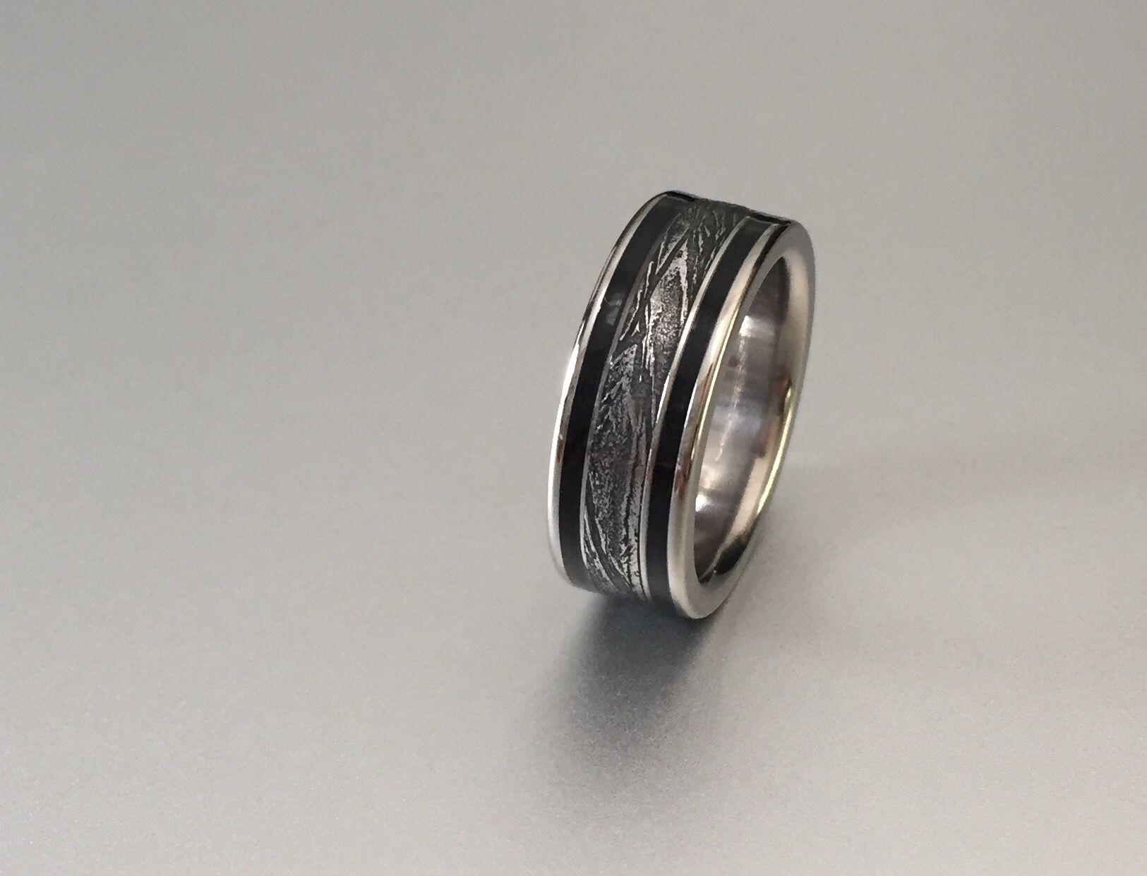 Meteorite ring with black resin edges. in 2020 Meteorite