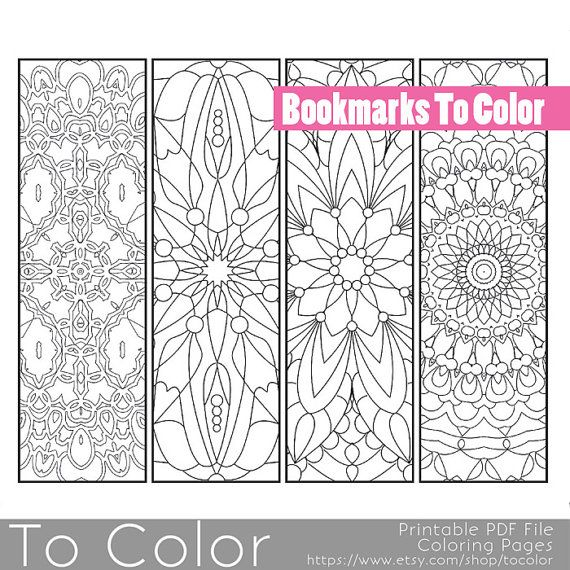 Printable Pattern Coloring Page Bookmarks, PDF / JPG, Instant ...