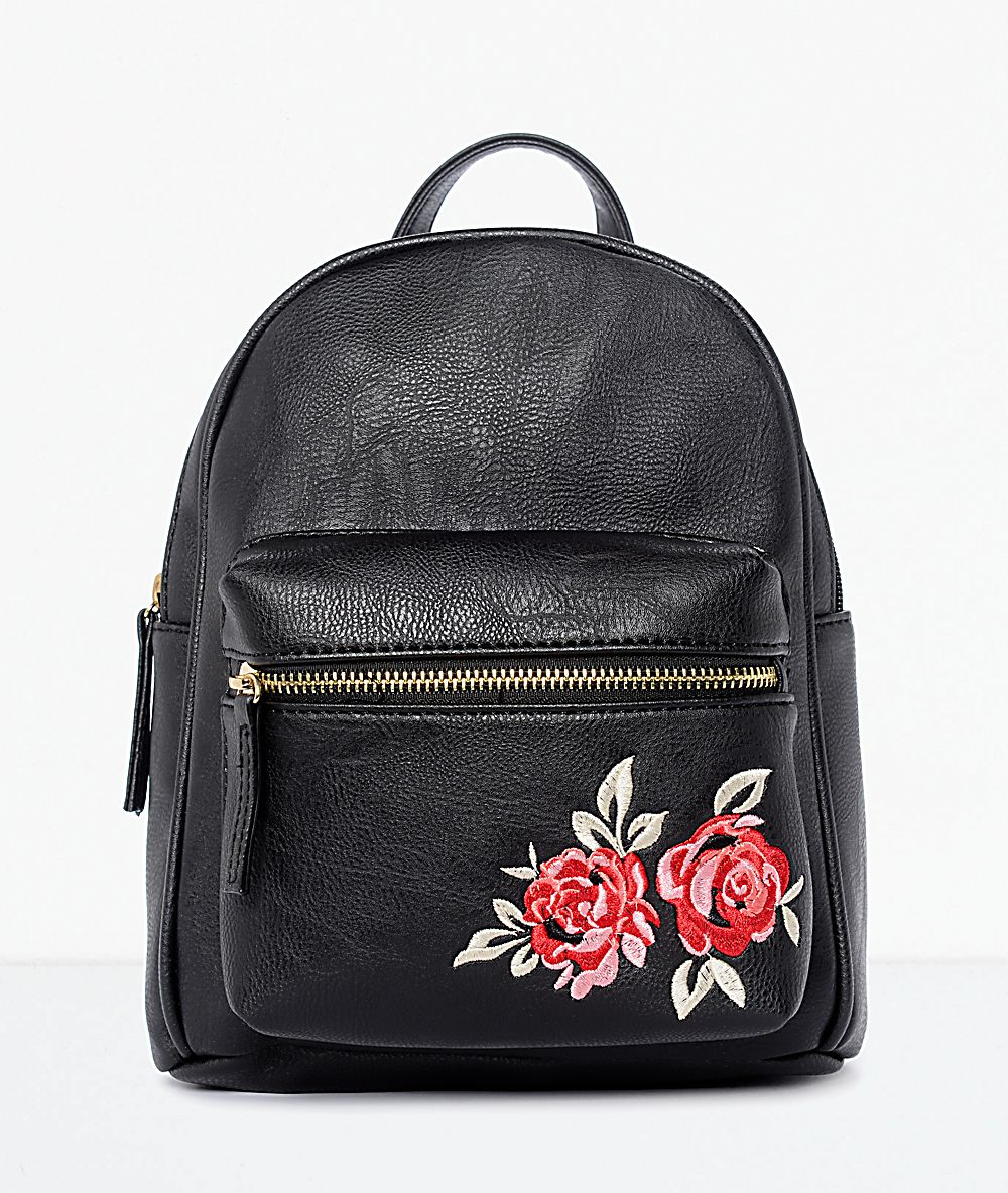 1a7a2074da Black Rose Embroidered Mini Backpack in 2019