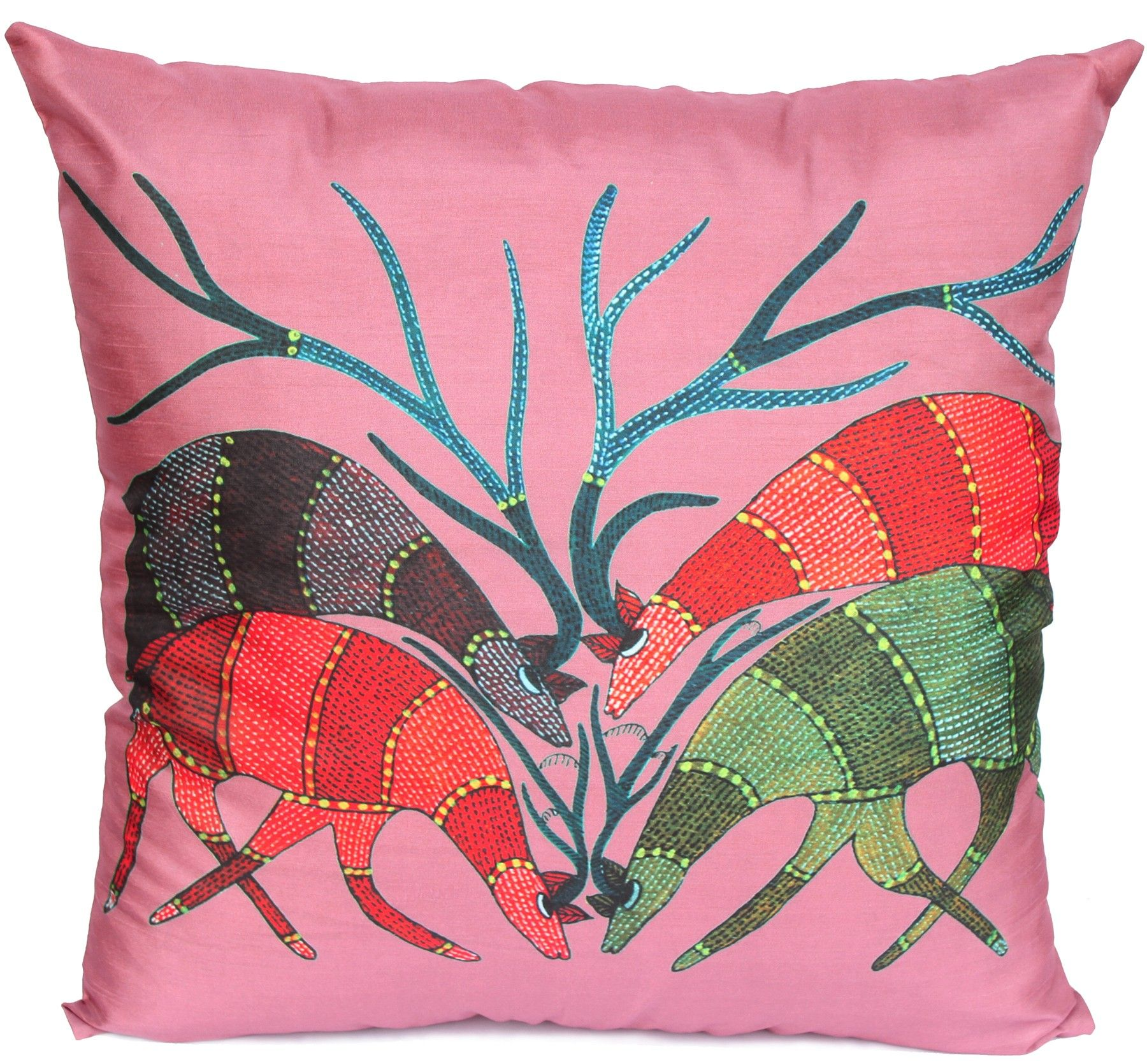 Priceless Buck - 18 x 18\u201d Multicolor Art Pillow / Cushion Cover \u2013 Decorative Antlers